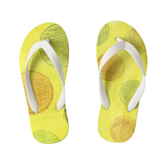 Children sandles yellow with polka dots. kid's thongs