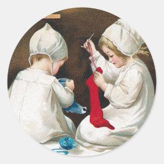Children Sewing Classic Round Sticker