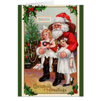 Children Sitting on Santa's Lap Holiday Cards
