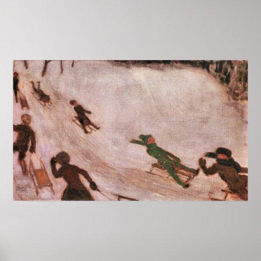 Children sledding by Franz von Stuck Posters