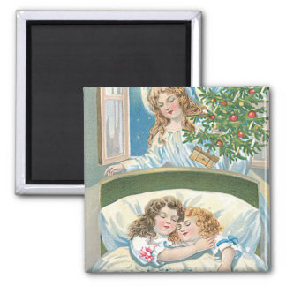 Children Sleeping Angel Christmas Tree Window Square Magnet