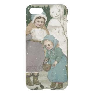 Children Snowman Feeding Birds Winter iPhone 7 Case