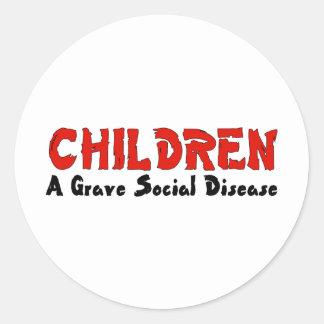 Children Social Disease Classic Round Sticker