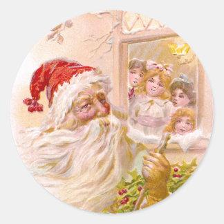 Children Spy Santa Outside Vintage Christmas Classic Round Sticker