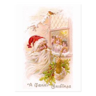 Children Spy Santa Outside Vintage Christmas Postcard