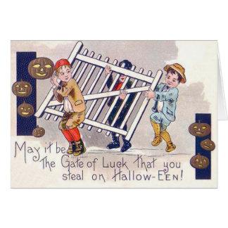 Children Stealing Fence Jack O Lantern Greeting Card