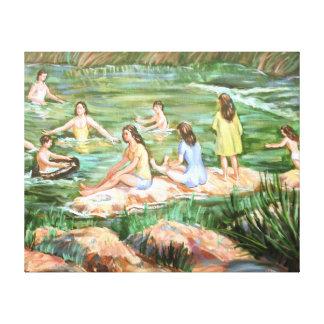 Children Swimming Canvas Print