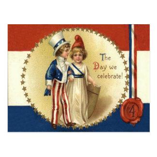 Children Uncle Sam Lady Liberty Star Postcard