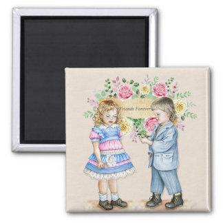 Children Watercolor Friends Forever Square Magnet