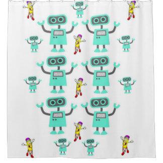 Children white showercurtain Robots Shower Curtain