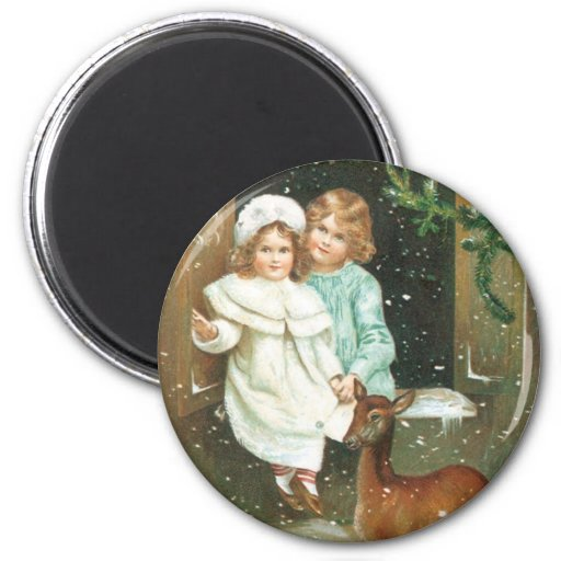 Children with a deer on Christmas Refrigerator Magnet