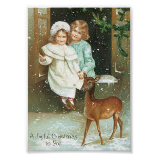Children with a deer on Christmas Poster
