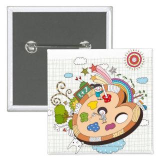 Children with paintbrushes 15 cm square badge