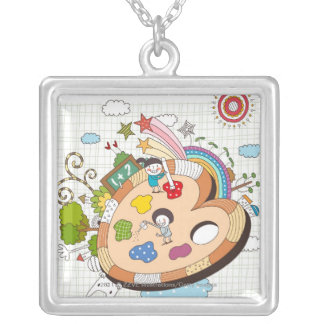 Children with paintbrushes silver plated necklace