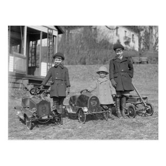 Children with Pedal Cars, 1924 Postcard