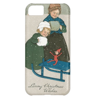 Children with Sled on Christmas in the Snow iPhone 5C Case