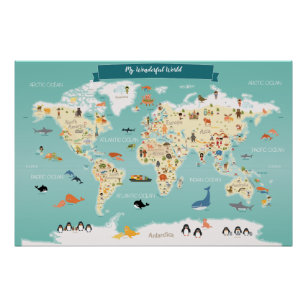 Kids world map posters prints zazzle children world map with animals and landmarks poster gumiabroncs Images