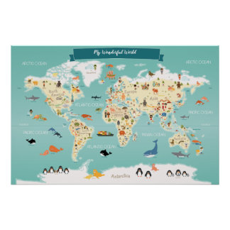 Children World Map with Animals and Landmarks Poster