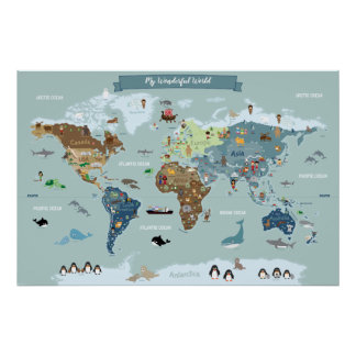 Children World Map with Cute Illustrations Poster