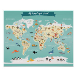 World map posters prints zazzle children world map with illustrations poster gumiabroncs Images