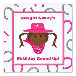 "Children's African American Cowgirl Birthday 5.25"" Square Invitation Card"