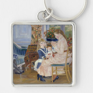 Children's Afternoon at Wargemont , Renoir Silver-Colored Square Key Ring