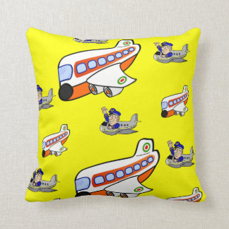 childrens airplane yellow throw pillow
