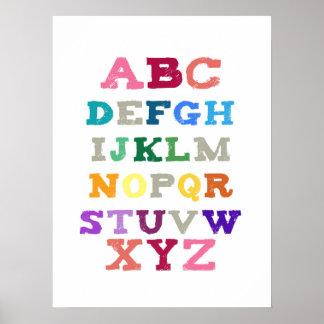Children's Alphabet Art - Pink Tones Print