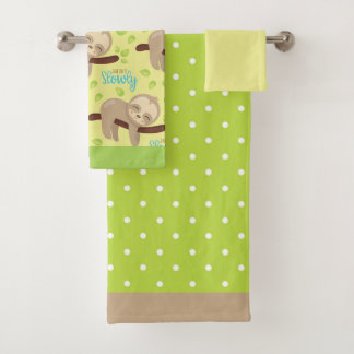 Children's Baby Cute Adorable Brown Sloth Bath Towel Set