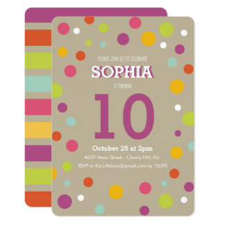 Childrens Birthday Invitation - Dots