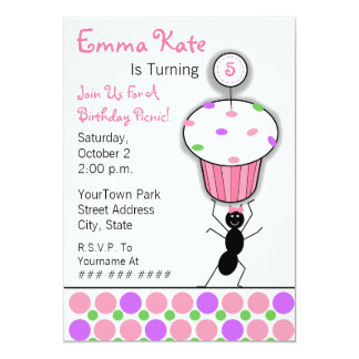 Childrens Birthday Picnic Party - Ant & Cupcake 13 Cm X 18 Cm Invitation Card
