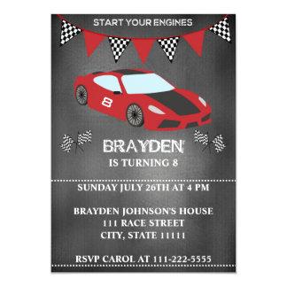 Children's Chalkboard Race Car Birthday Invitation