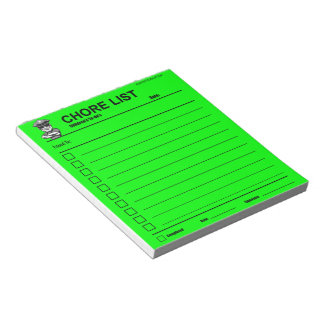 Children's Chore List Notepad