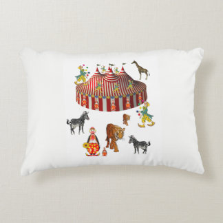 childrens circus white pillow two sided prints