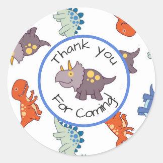 Children's Dinosaur Pattern Birthday Thank You Round Sticker