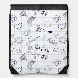 Children's Drawing Pattern Drawstring Bag