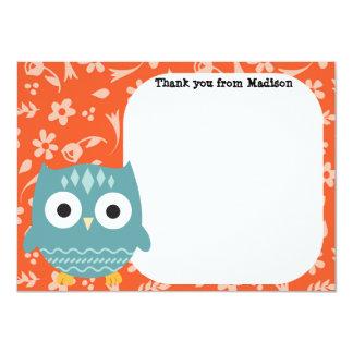 Children's Flat Panel Thank You Cards Blue Owl 11 Cm X 16 Cm Invitation Card