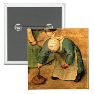 Children's Games : detail of a girl playing 15 Cm Square Badge
