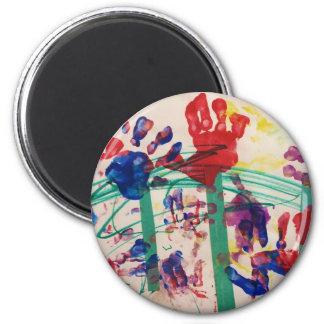 Children's handprint Garden 6 Cm Round Magnet