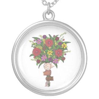 Children's Hands Flower Bouquet Teacher Mom Gift Silver Plated Necklace
