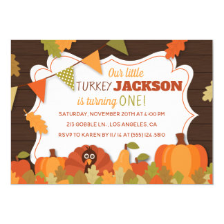 Children's Little Turkey Birthday Party Invitation