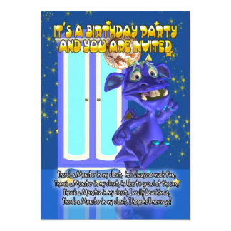 """Children's Monster Birthday Party Invitation With 5"""" X 7"""" Invitation Card"""
