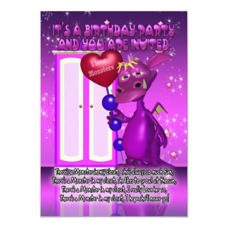 Children's Monster Birthday Party Invitation With