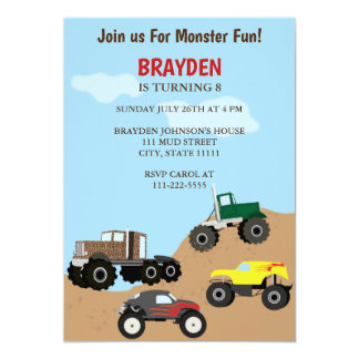 Children's Monster Truck Birthday Invitation