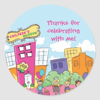 Childrens Museum Pink Round Sticker