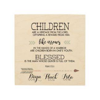 Children's Names Scripture Verse with Arrows Wood Print