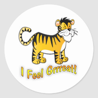 Children's Party Bag Sticker Tiger I Feel Great
