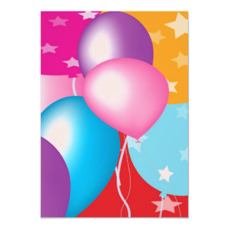 Children's Party Invitation - Baloons on Front V28