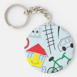 Children's Pattern - Euro Style Kids Basic Round Button Key Ring