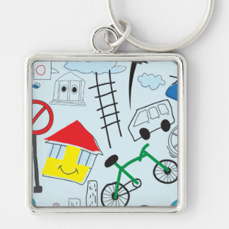 Children's Pattern - Euro Style Kids Silver-Colored Square Key Ring